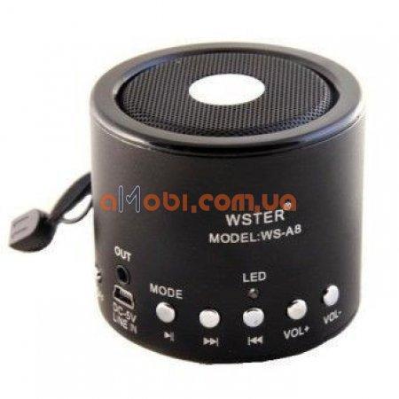 Колонка портативная WSTER WS-A8 с MP3, USB и FM-pадио Черный